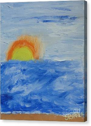 Canvas Print featuring the painting Sunrise by PainterArtist FINs daughter