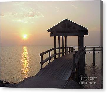 Sunrise Pier 1 Canvas Print by D Wallace