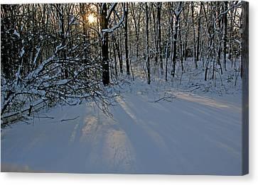Sunrise Reflected On Snow Canvas Print