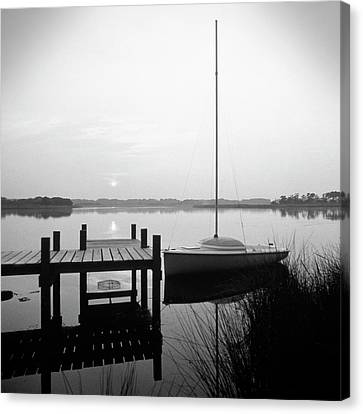 North Carolina Outer Banks Canvas Print - Sunrise Sail Boat by Mike McGlothlen