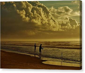 Sunrise Surf Fishing Canvas Print by Ed Sweeney