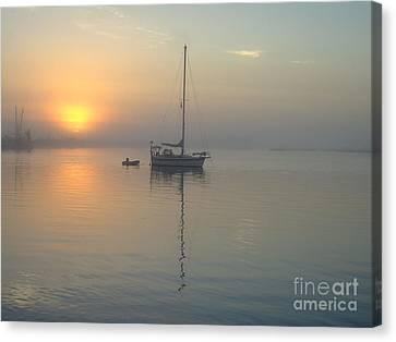 Sunrise Through The Fog Canvas Print by Bob Sample
