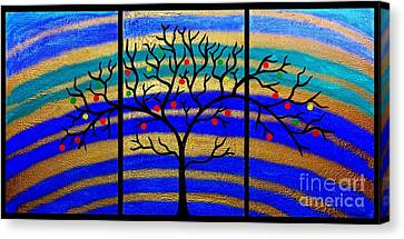 Sunrise Tree - Abstract Oil Painting Original Metallic Gold Textured Modern Contemporary Art Canvas Print by Emma Lambert