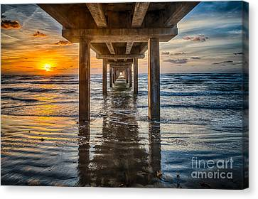 Sunrise Under The Pier Canvas Print by Tod and Cynthia Grubbs