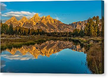 Sunrise Vision At The Grand Tetons Canvas Print