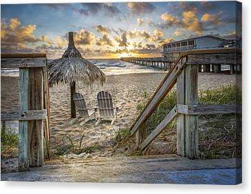 Adirondack Chairs On The Beach Canvas Print - Sunrise Welcome by Debra and Dave Vanderlaan
