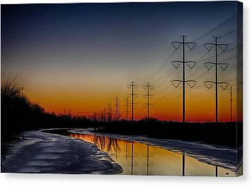 Canvas Print featuring the photograph Sunrise Winter Reflection by Jerome Lynch