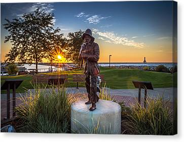 Sunrise With The Fisherman Canvas Print
