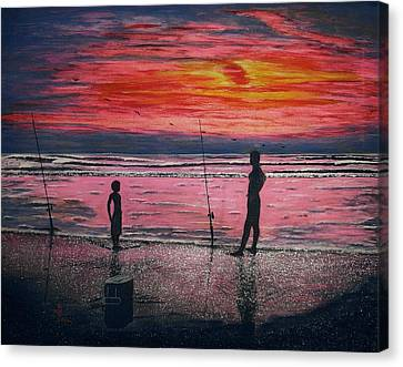 Canvas Print featuring the painting Sunrise.us. by Viktor Lazarev