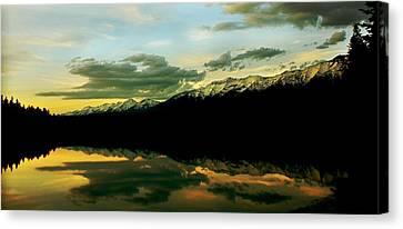 Sunset 1 Rainy Lake Canvas Print by Janie Johnson
