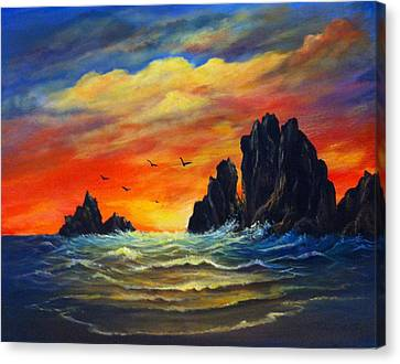 Canvas Print featuring the painting Sunset 2 by Bozena Zajaczkowska