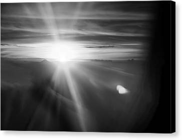 Sunset Above The Clouds In Bw Black White Canvas Print by PhotoArtist PhotoArtist