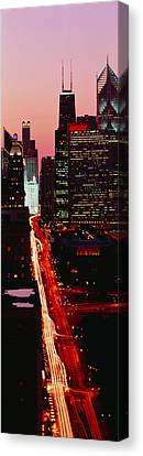 Sunset Aerial Michigan Avenue Chicago Canvas Print by Panoramic Images