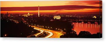 Sunset, Aerial, Washington Dc, District Canvas Print by Panoramic Images