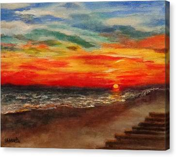 Sunset After Sandy Canvas Print by Annie St Martin