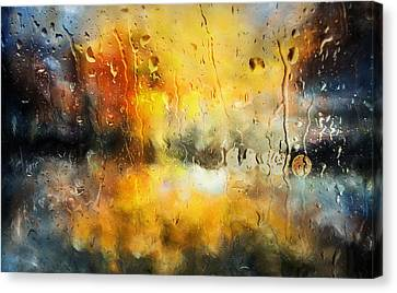Sunset After The Storm Abstract Canvas Print by Georgiana Romanovna