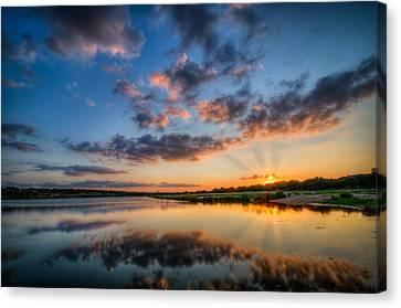 Sunset Along The Brushy Canvas Print by Jeffrey W Spencer