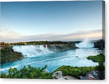 Canvas Print featuring the photograph Sunset American And Canadian Falls At Niagara  by Marek Poplawski
