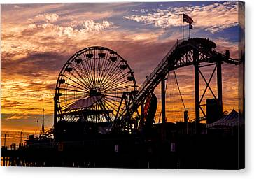 Sunset Amusement Park Farris Wheel On The Pier Fine Art Photography Print Canvas Print by Jerry Cowart