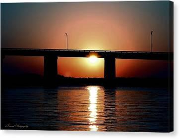 Sunset And Bridge Canvas Print by Debra Forand