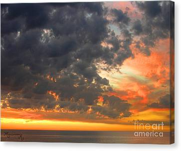 Canvas Print featuring the photograph Sunset And Clouds by Mariarosa Rockefeller