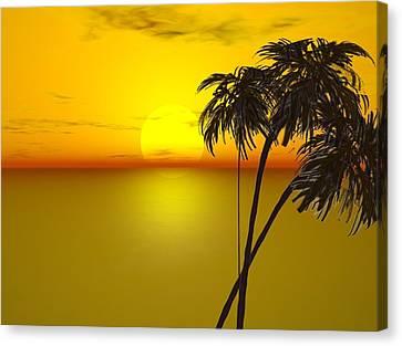 Sunset And Palms Canvas Print by John Vito Figorito