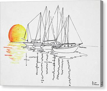Sunset And Sailboat Reflection Canvas Print