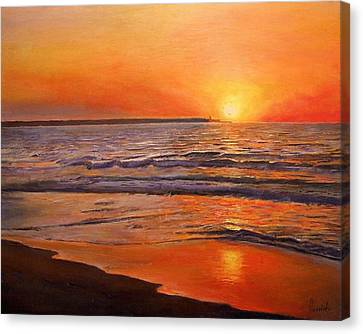 Sunset And Tranquility, 2008 Oil On Canvas Canvas Print by Kevin Parrish