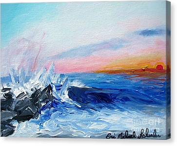 Seaside Heights Canvas Print - Sunset And Waves At West Cape May by Eric  Schiabor