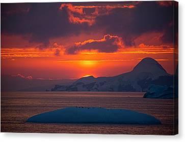 Sunset At 11pm In Antarctica Canvas Print