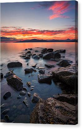 Sunset At Acadia Beach Canvas Print