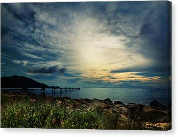 Canvas Print featuring the photograph Sunset At Airport by Afrison Ma