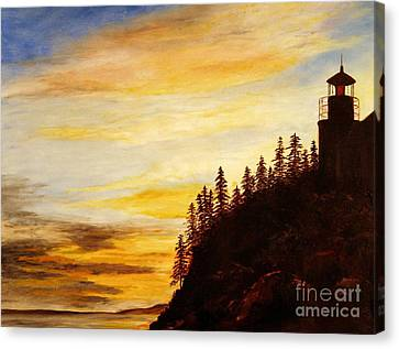Canvas Print featuring the painting Sunset At Bass Harbor by Lee Piper