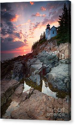 Sunset At Bass Harbor Lighthouse Canvas Print by Jane Rix
