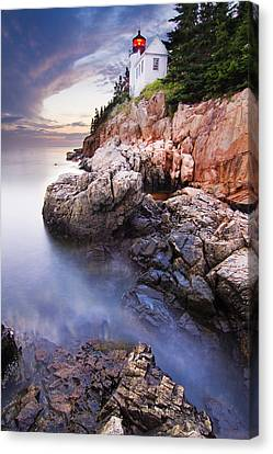 Sunset At Bass Harbor Lighthouse Canvas Print by Mircea Costina Photography