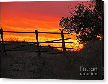 Canvas Print featuring the photograph Sunset At Bear Butte by Mary Carol Story