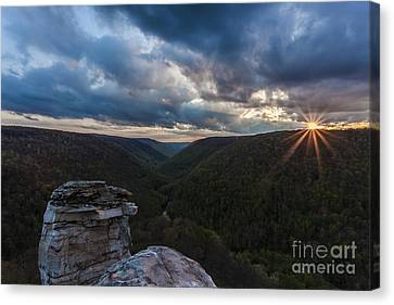 Sunset At Blackwater Falls State Park Canvas Print by Amber Kresge