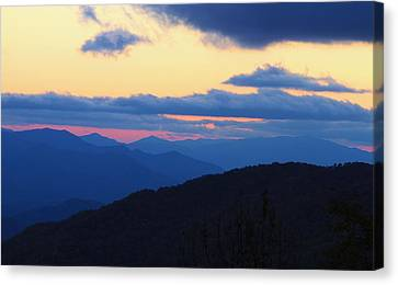 Sunset At Blue Ridge Parkway In North Carolina Canvas Print