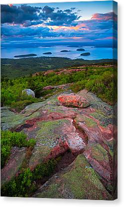 Woven Canvas Print - Sunset At Cadillac Mountain by Emmanuel Panagiotakis