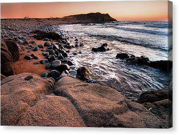 Canvas Print featuring the photograph Sunset At Capo Pecora - Sardinia by Laura Melis