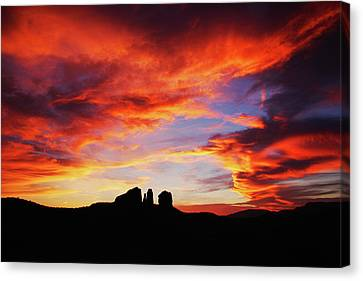 Canvas Print featuring the photograph Sunset At Cathedral by Tom Kelly