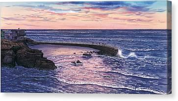 Sunset At Children's Pool Canvas Print by John YATO