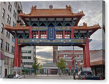Canvas Print featuring the photograph Sunset At Chinatown Gate In Seattle Washington by JPLDesigns
