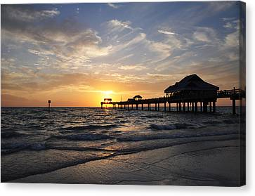 Sunset At Clearwater Canvas Print by Bill Cannon