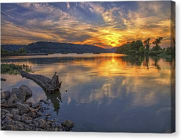 Canvas Print featuring the photograph Sunset At Cook's Landing - Arkansas River by Jason Politte
