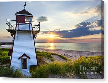 Sunset At Covehead Harbour Lighthouse Canvas Print by Elena Elisseeva