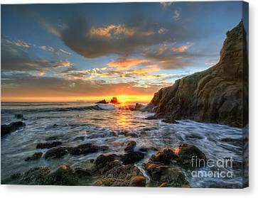 Sunset At Crescent Bay Beach Canvas Print by Eddie Yerkish