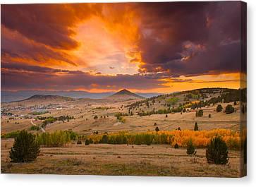 Sunset At Cripple Creek Overlook Canvas Print