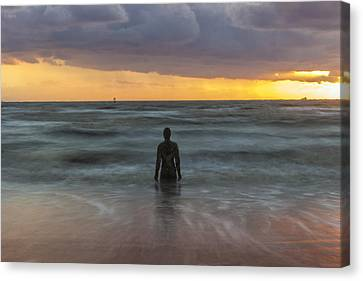 Ironman Canvas Print - Sunset At Crosby Beach Liverpool by Paul Madden