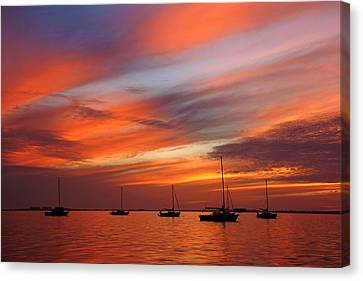 Canvas Print featuring the photograph Sunset At Crystal Beach by Daniel Woodrum